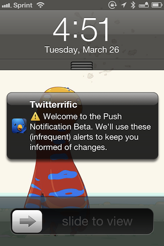 Push Notification Beta Alert
