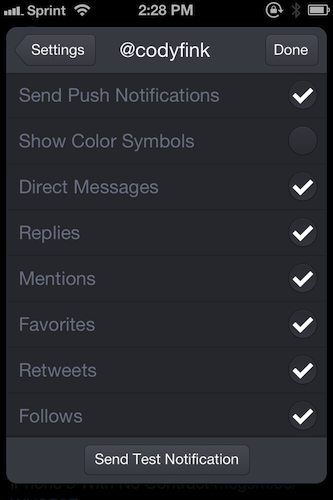 Push Notification Settings