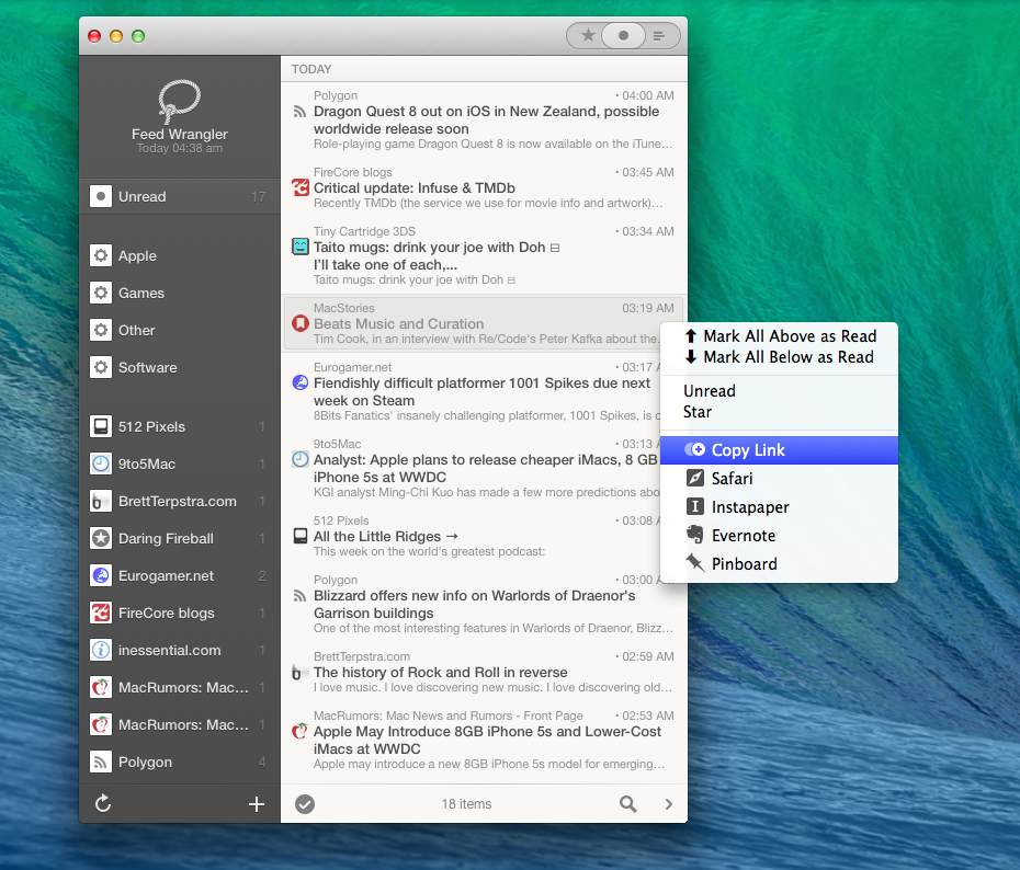 Reeder 2's minimized mode and contextual menu.