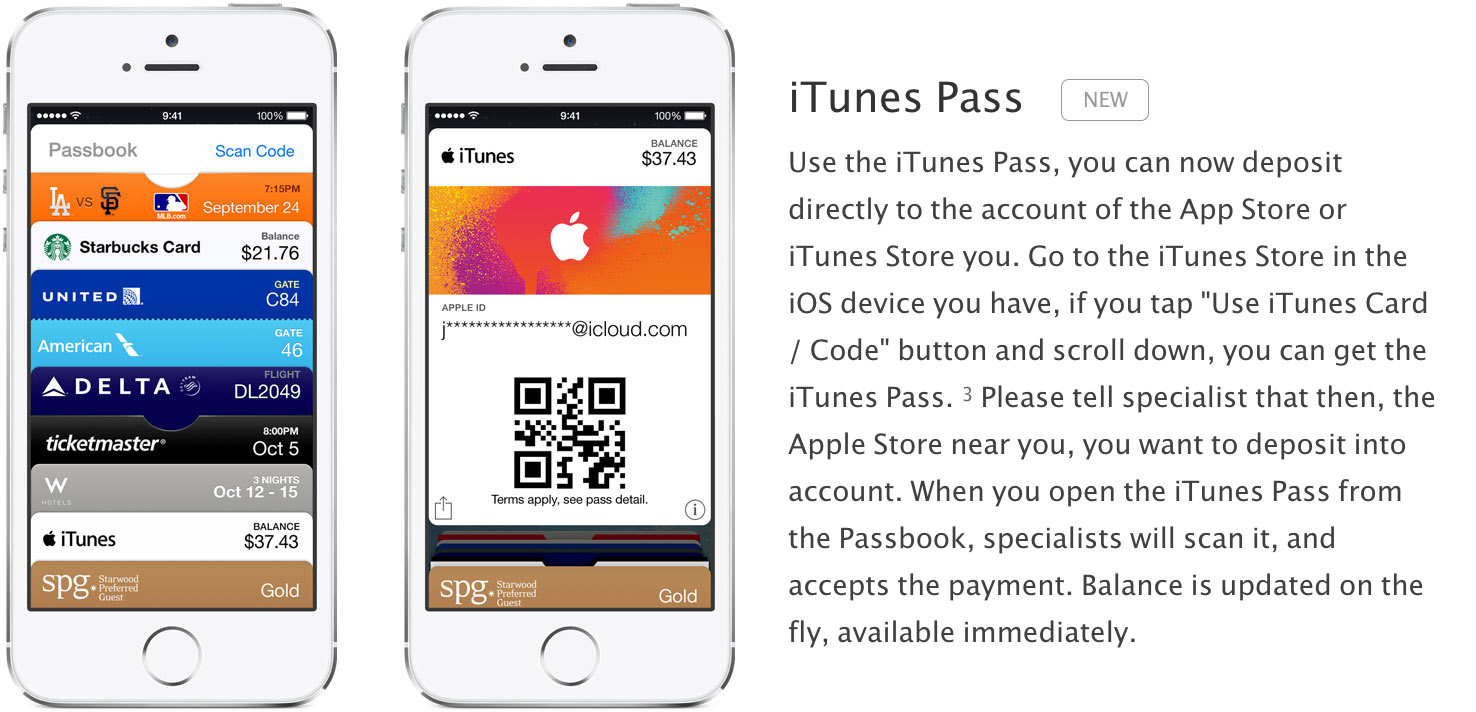 iTunes Pass promoted on Apple's Japan website (text translated by Google Translate)