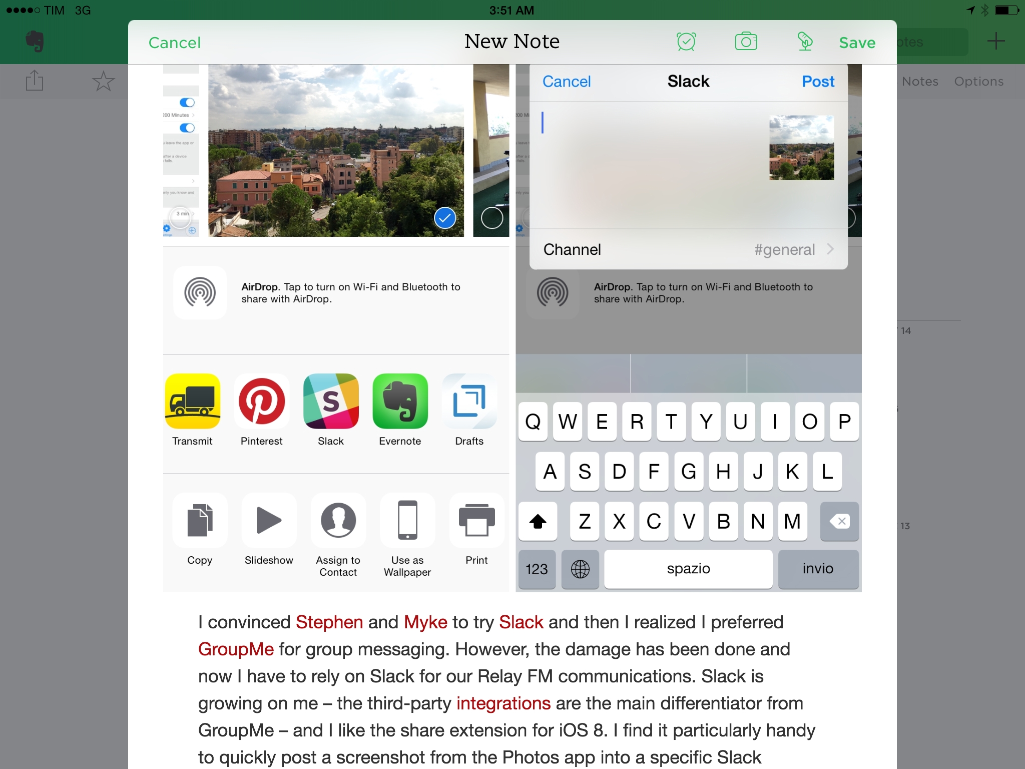 Pasting rich text saved with Clips into Evernote.