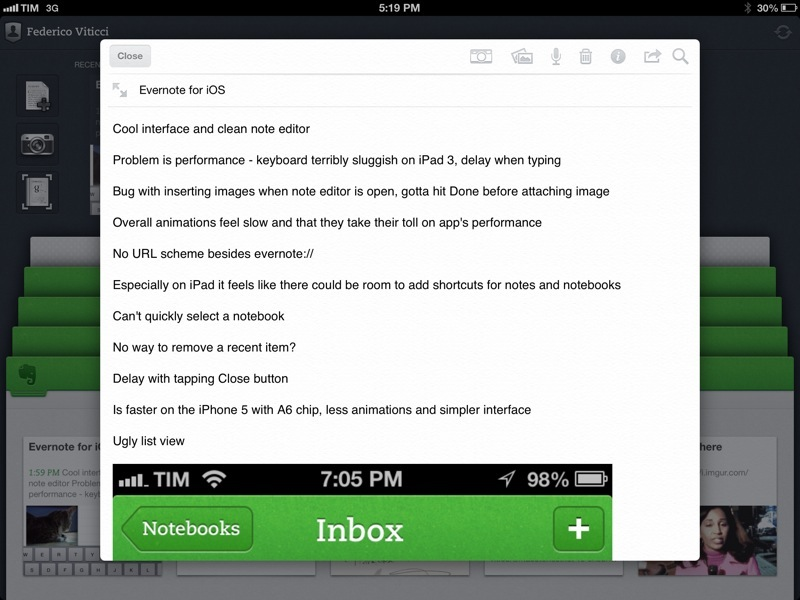 Evernote 5 note editor